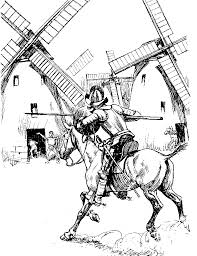 Don Quixote se lança contra o moinho